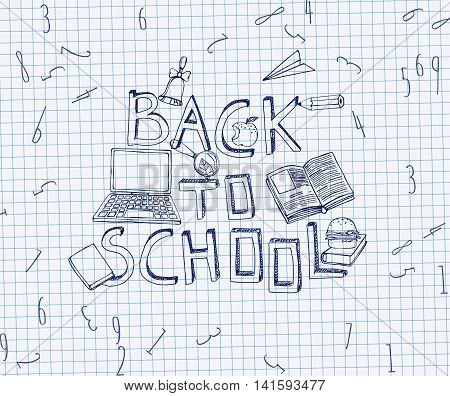 Hand Drawn school related image. Vector illustration. Blue pen drawing on a white exercise book sheet background. Back to school concept in sketchy style