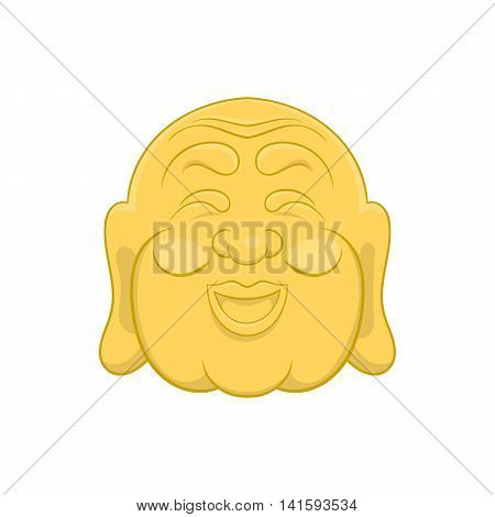 Budha head icon in cartoon style on a white background