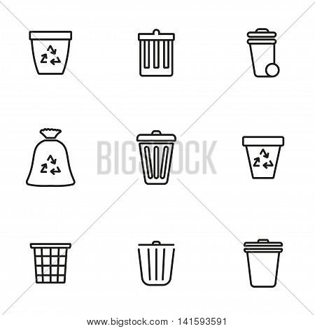 Vector line trash can icon set on white background