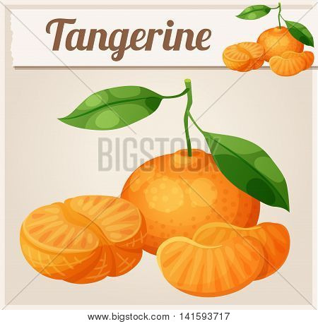 Tangerine fruit Mandarin. Cartoon vector icon. Series of food and drink and ingredients for cooking.