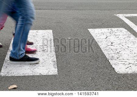Street - Children Crossing A Crosswalk