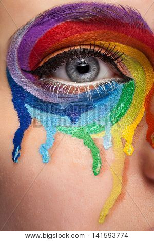 Close up eye with cry colors in a wheel arround the eye. Art stage conceptul make up