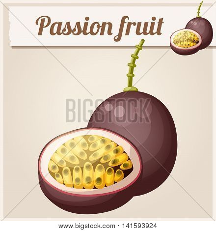 Passion fruit Maracuja. Cartoon vector icon. Series of food and drink