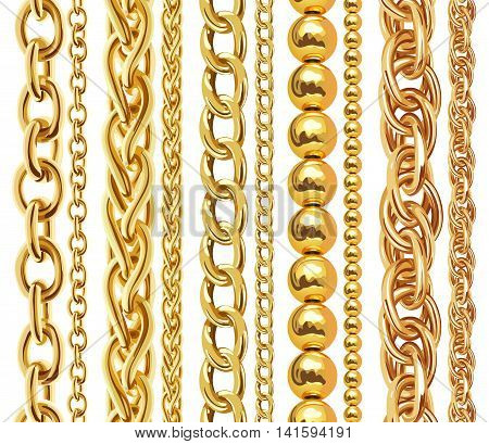 Set of realistic vector golden chains. Vector illustration of gold links isolated on white background