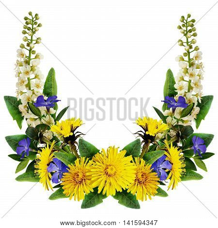 Dandelion bird-cherry tree flowers and periwinkles frame isolated on white