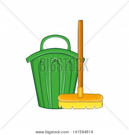 Cleaning broom and trash bin icon in cartoon style on a white background