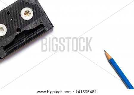 Pencil and Video Tape on isolated white background.
