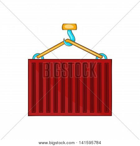 Crane lifts red container icon in cartoon style on a white background