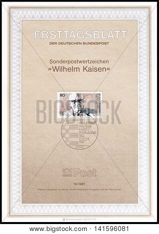 GERMANY - CIRCA 1987 : Cancelled First Day Sheet printed by Germany, that shows Wilhelm Kaisen.