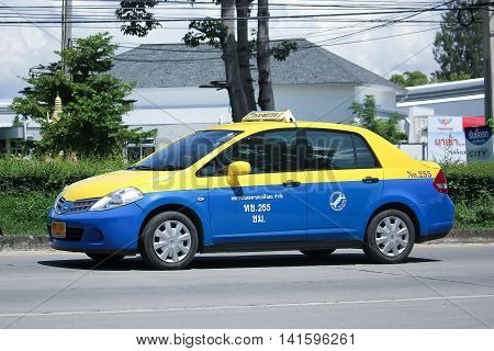 CHIANGMAI THAILAND -JULY 27 2016: City taxi Meter chiangmai Nissan Tiida Service in city. On road no.1001 8 km from Chiangmai Business Area.