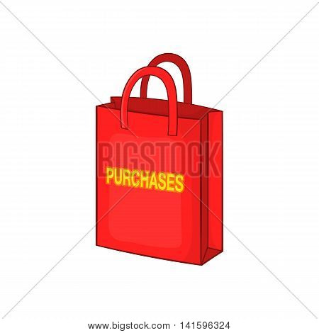 Red bag for shopping , with the inscription purchase icon in cartoon style on a white background