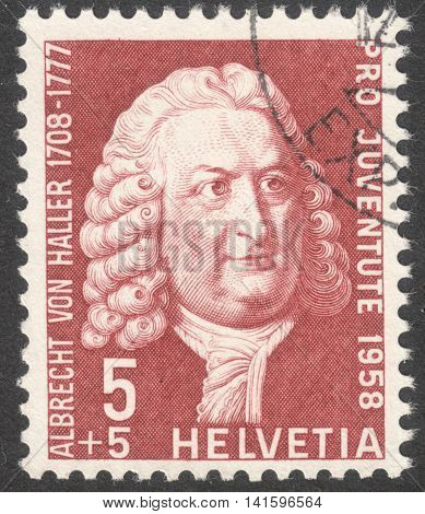 MOSCOW RUSSIA - CIRCA MAY 2016: a post stamp printed in SWITZERLAND shows a portrait of Albrecht von Haller the series