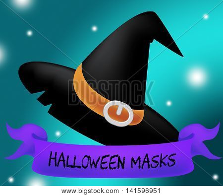Halloween Masks Represents Trick Or Treat And Autumn