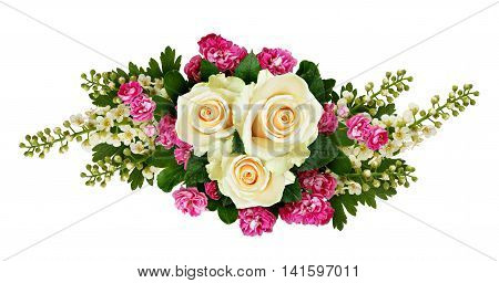 Roses bird-cherry tree flowers and hawthorn flowers arrangement isolated on white