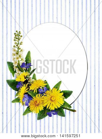 Dandelion and periwinkle flowers arrangement and a card on white and blue striped background