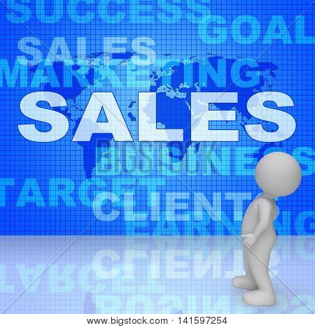 Sales Words Represents Corporation Sell 3D Rendering