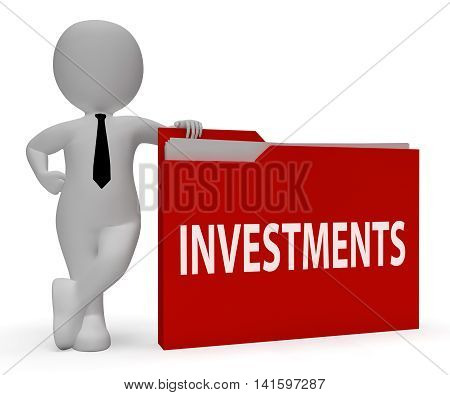 Investments Folder Means Roi Portfolio 3D Rendering