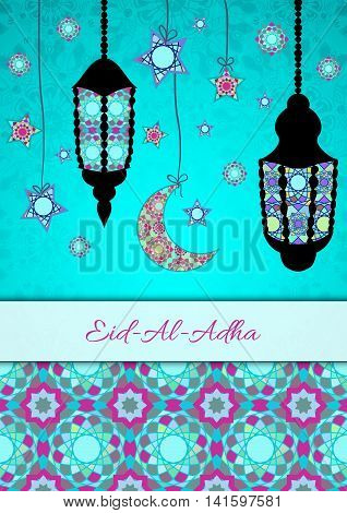 Vector greeting card to Feast of the Sacrifice (Eid-Al-Adha). Congratulation's background with text and muslim symbols. A4 format