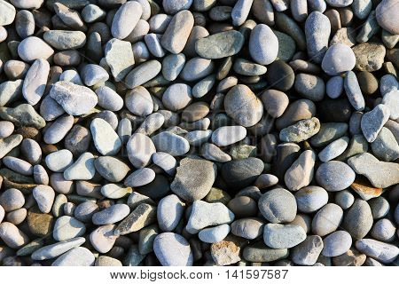 texture of beautiful dry round colored sea pebbles on pebble beach foreground closeup