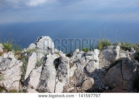 beautiful panoramic view from top of crimean mountain Ai-Petri on Black sea coast Crimea