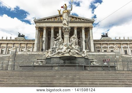 Austrian Parliament Building And Athena Monument, Vienna