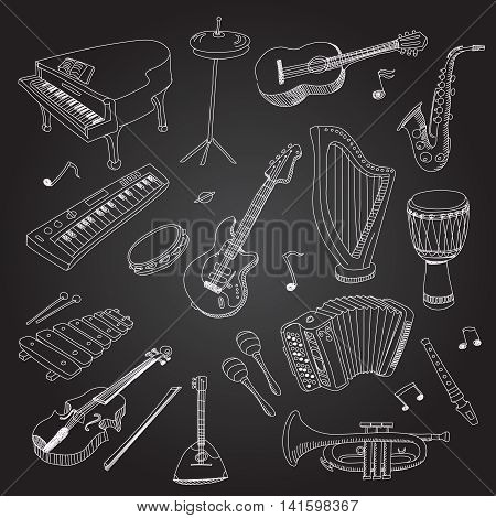Rock and pop music instruments guitar, keyboard, synthesizer, drum pedal, guitar bass, saxophone, xilophone, guitar, violin, drum, harp, Flat vector isolated illustration set.