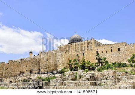 Al-Aqsa and East Wall of Old City of Jerusalem Israel.