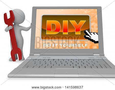 Diy Button Represents Do It Yourself 3D Rendering