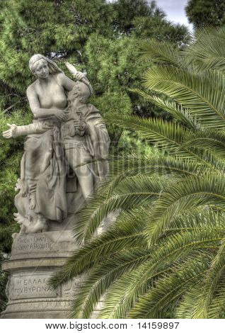 Hellas And Lord Byron Statue In Athens