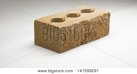 Brick Concrete Face Crushed Sided Hollow Thickened In Different Colors. On A White Background