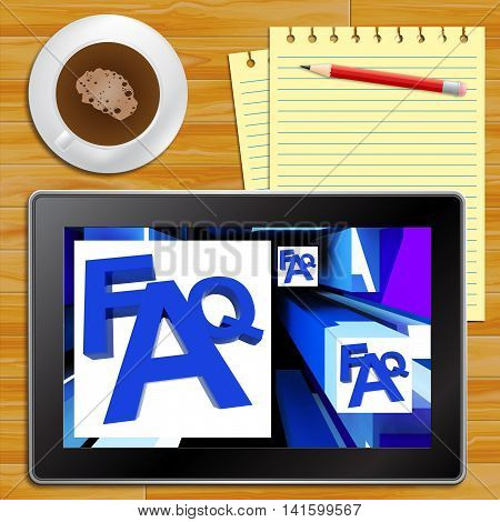 Faq On Cubes Shows Advice With Tablet