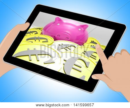 Piggybank Surrounded In Coins Showing European Incomes Tablet