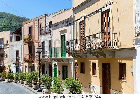 View at Italian houses of Lipari Aeolian Islands near Sicily
