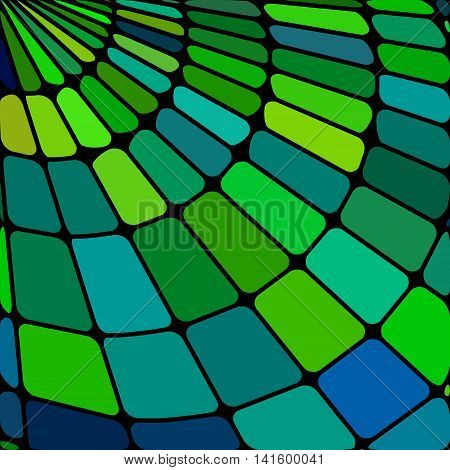 abstract vector stained-glass mosaic background - green teal and blue
