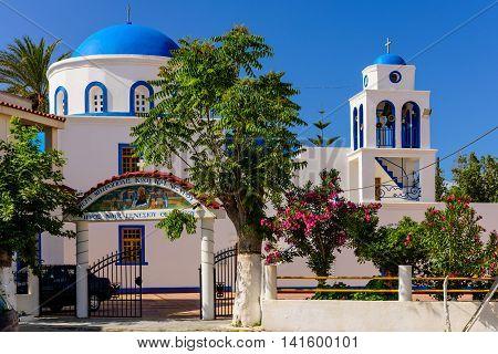 Kos island, Dodecanese, Greece - May 16, 2016: The Greek Church in the village of Kardamena.