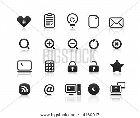 Mini mono black icons set