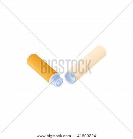 Electronic cigarette battery and vaporizer icon in cartoon style on a white background