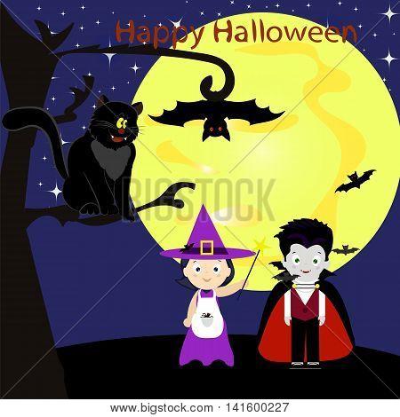 Halloween, holiday, kids in costumes, little witch, vampire, black cat, bat, moon, night, vector illustration