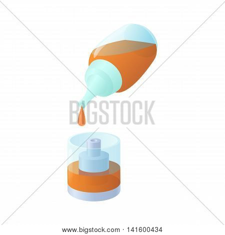 Vaping liquid bottle with dropper icon in cartoon style on a white background