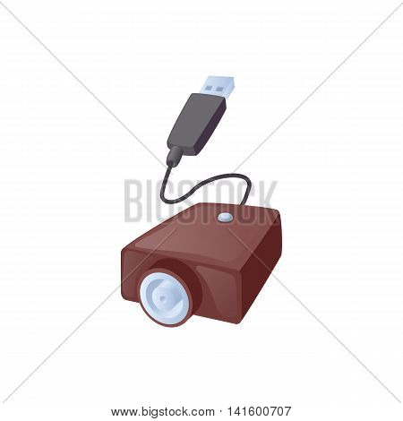 Electronic cigarette USB cable charge icon in cartoon style on a white background