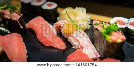 Japanese Mix Sushi Raw fish with rice Set
