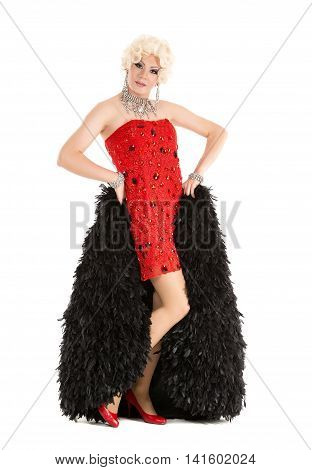 Drag Queen In Red Dress With Fur Performing