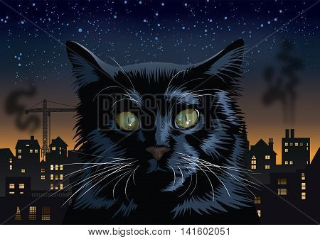 Vector black cat with an industrial town background.