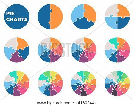 Pie charts for infographics. Diagrams with 1 - 12 parts. Vector design element.