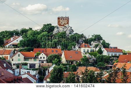 Mikulov Czech Republic - May 17 2015. So called Goat Tower in small Mikulov city in South Moravian Region