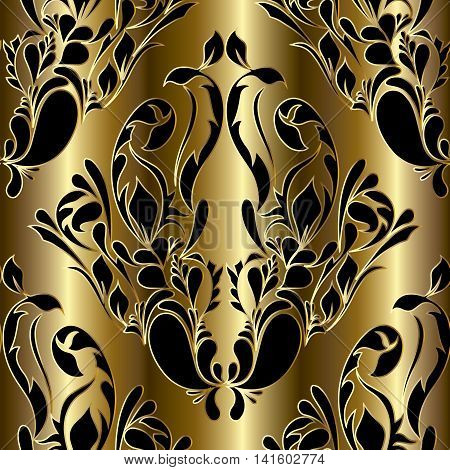 Royal luxury gold floral damask baroque vector vintage seamless pattern background with elegant stylish volumetric black ornaments. Modern elements for design in Victorian style. 3d decor with shadow, highlights and drapery.