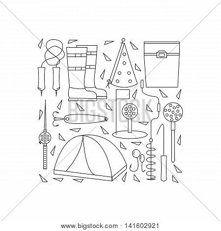 Icons of winter fishing arranged in a square. The poster or a banner with accessories for fishing on the ice. Vector illustration.