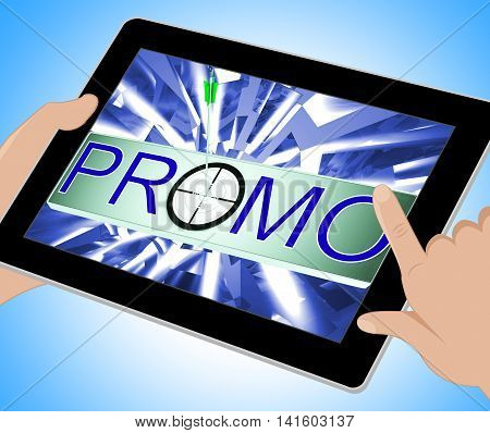 Promo Shows Promotion Discount Sale On Tablet