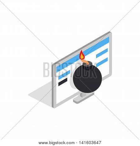Bomb and computer monitor icon in isometric 3d style on a white background