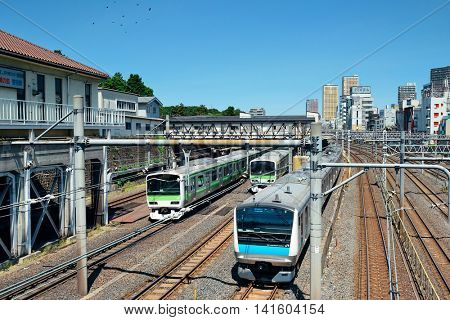 TOKYO, JAPAN - MAY 15: Train in in station on May 15, 2013 in Tokyo. Tokyo is the capital of Japan and the most populous metropolitan area in the world